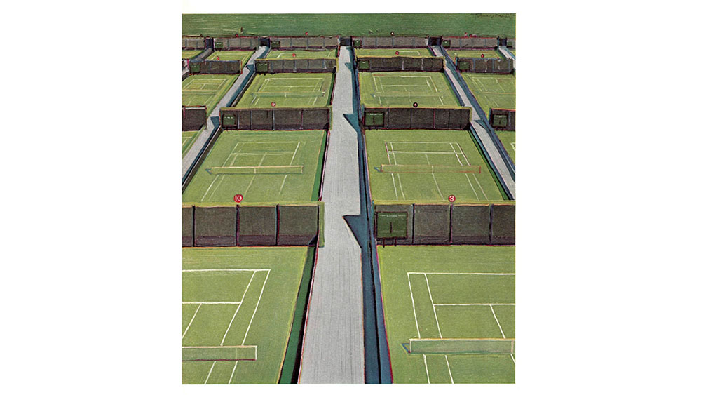Wayne Thiebaud, The Outside Courts at Wimbledon, 1968. Oil on canvas, 22 x 20 in.
