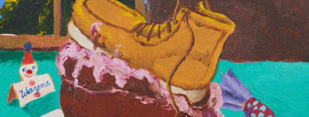 Painting of a cake with a boot on it by Robert Colescott.