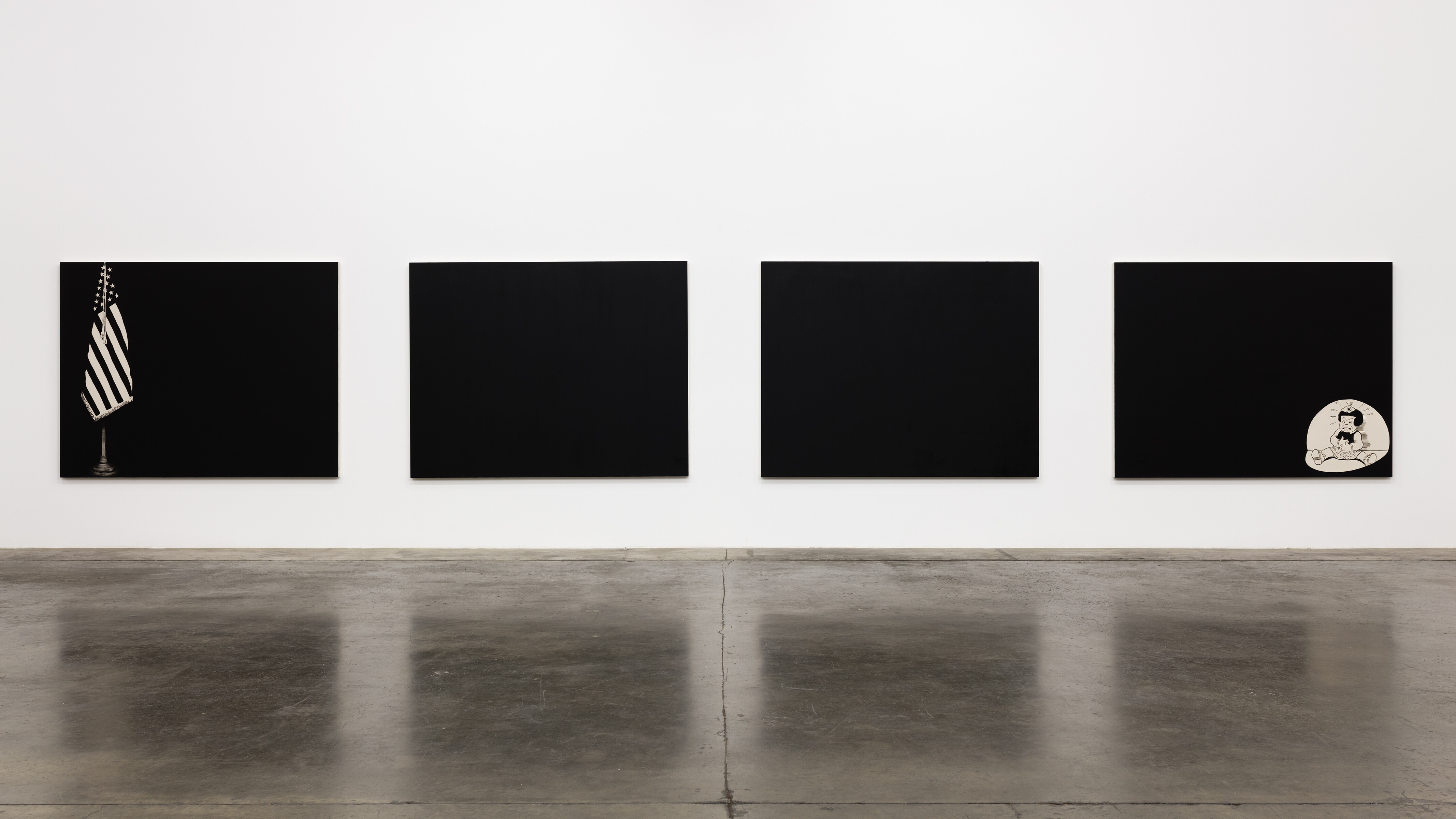 Photo of Francis Stark's artwork featuring three black canvases.