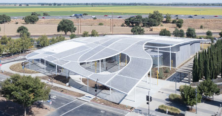 Aerial view of the Manetti Shrem Museum
