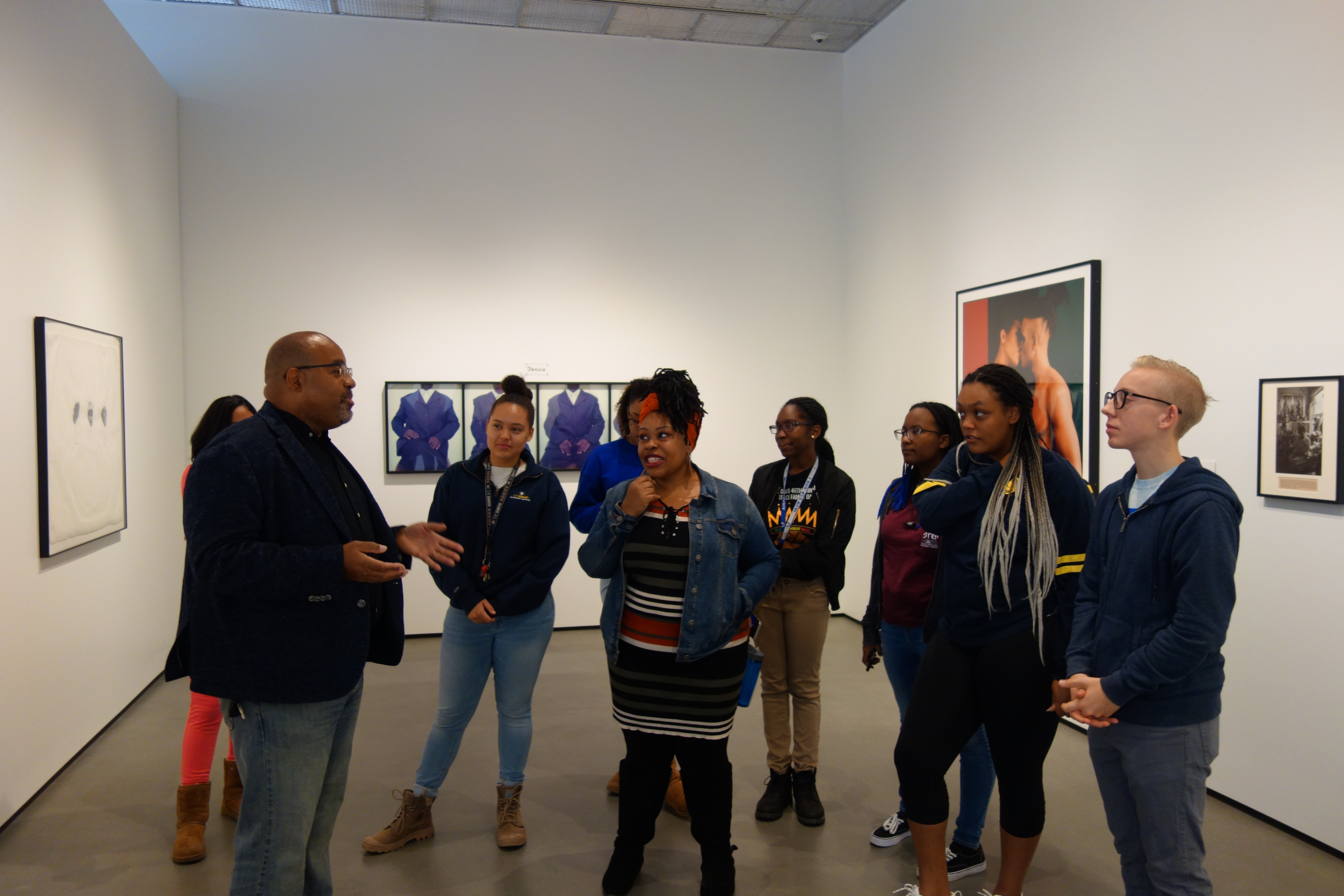 Students learning in the galleries