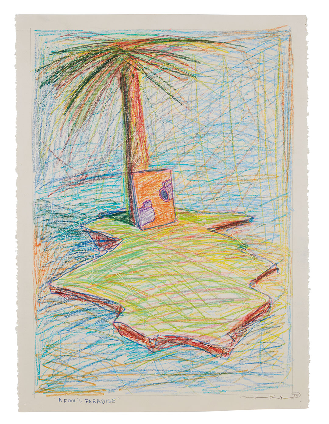 Drawing of a desert island with palm tree and canvas leaning against it with a gun draw on it.