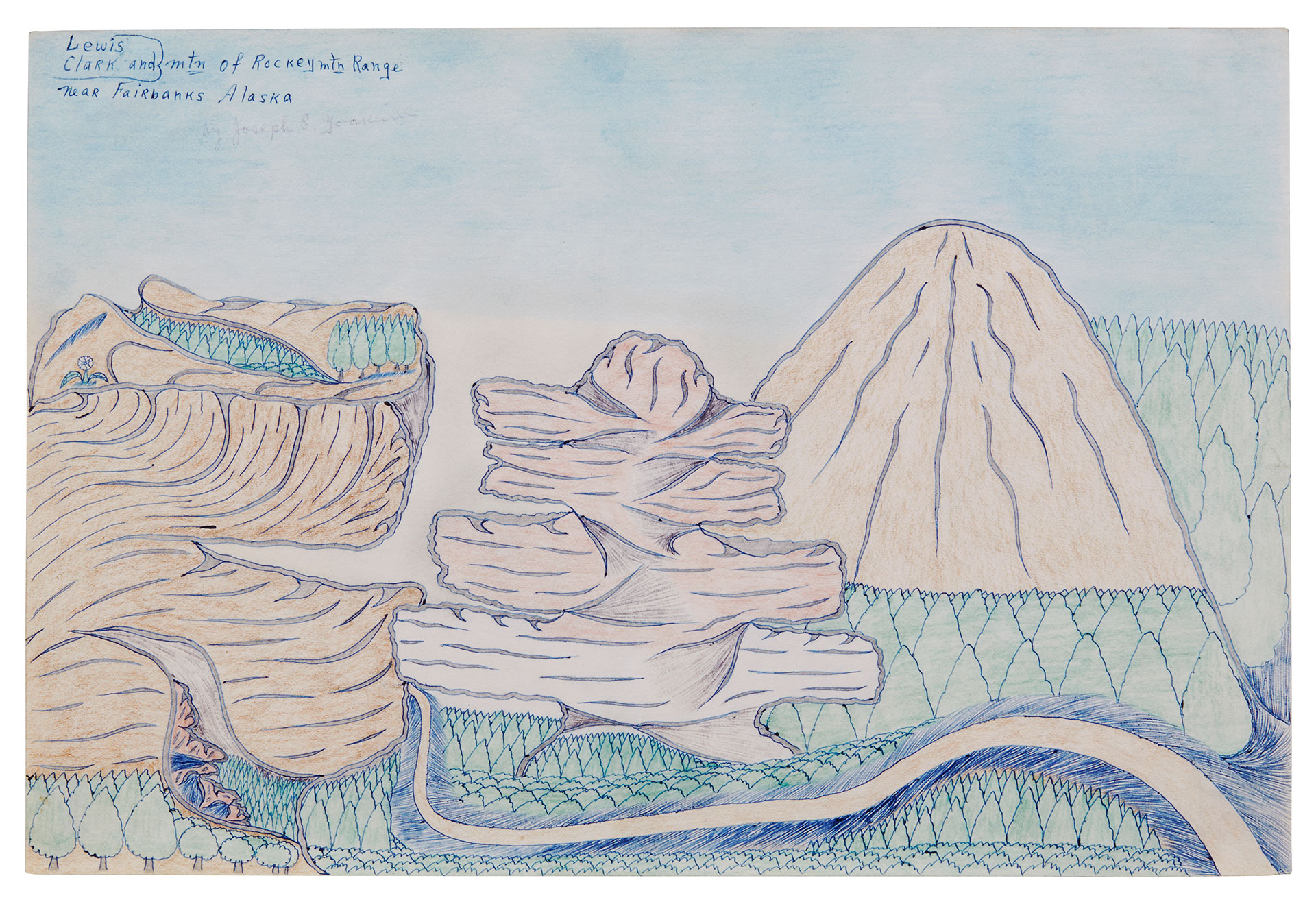 Abstract drawing of mountains and trees.