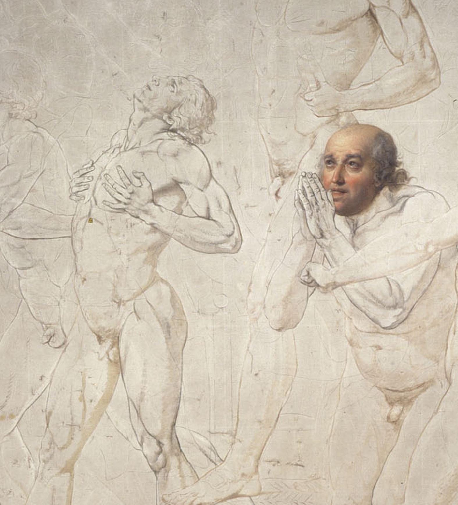 Sketch by Jacques Louis David, The Jeu de Paume Oath, 1790 –1792, Pen, ink, wash, and white highlights on pencil stroke, Palace of Versailles.