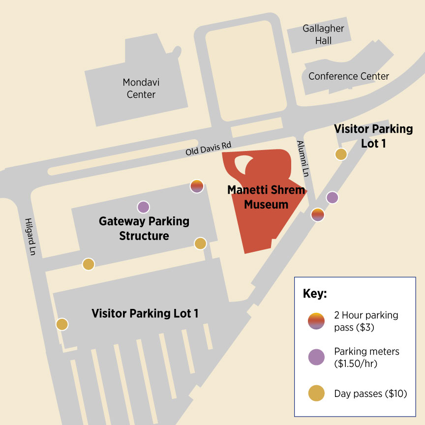 Map image showing parking meters near the museum.