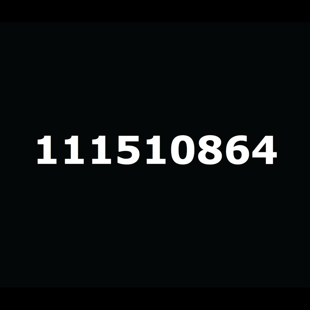 White numbers in a single line on a black background.