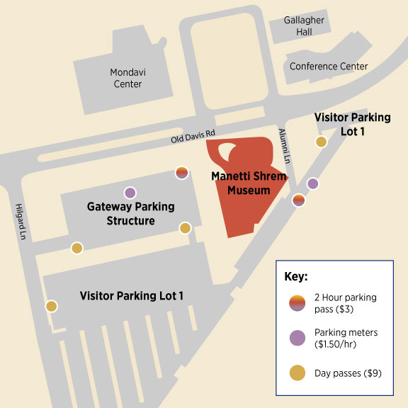 Map showing parking around the Manetti Shrem Museum
