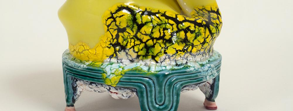 Detail of ceramic piece by Kathy Butterly