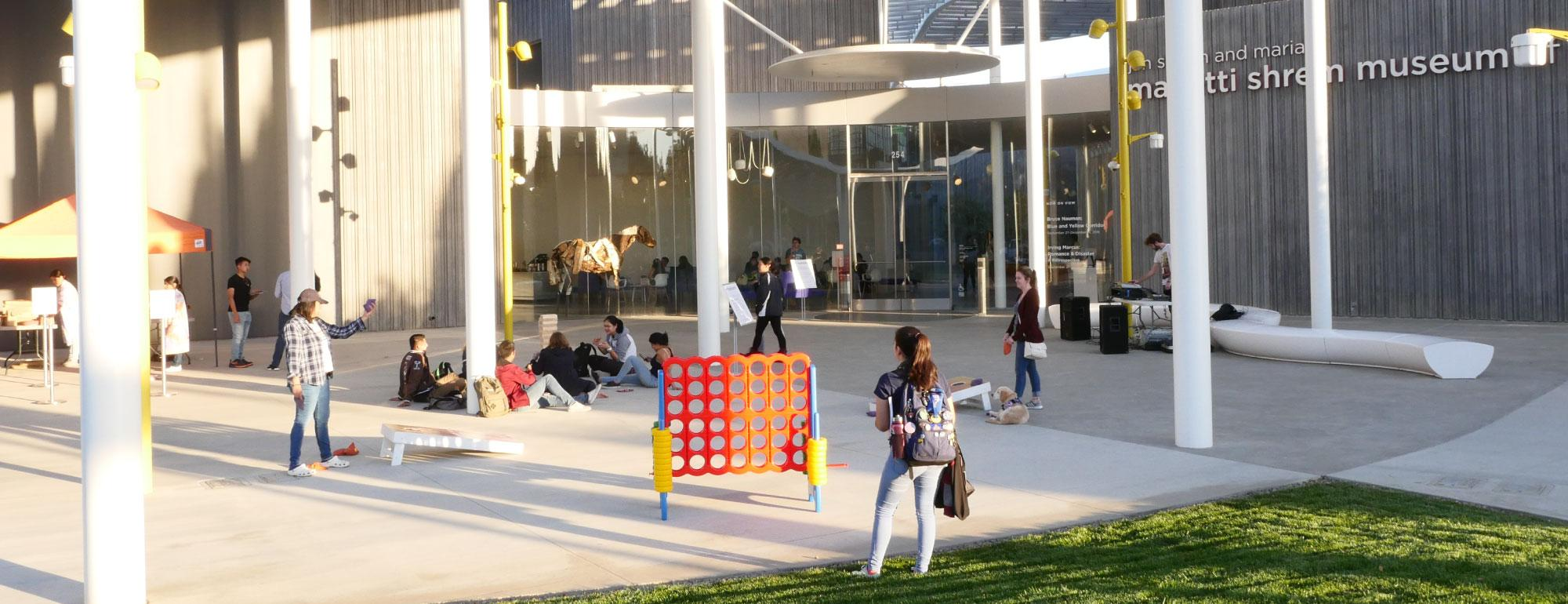 Students on the event plaza playing games.